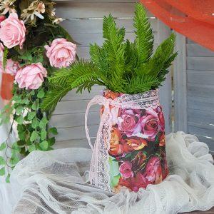 φθινοπωρινό center piece βαζάκι με ντεκουπάζ