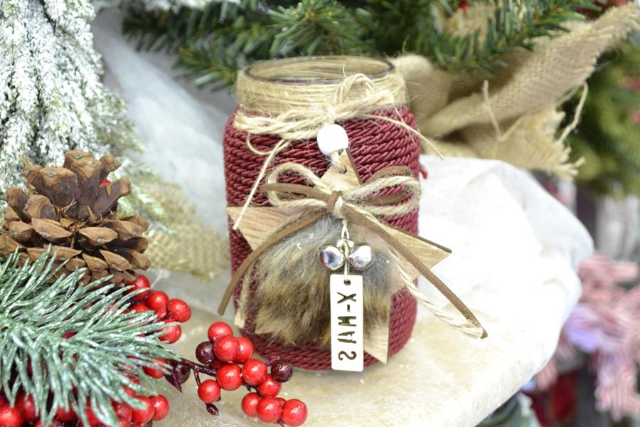 χειροποίητες κατασκευές: χριστουγεννιάτικο diy βαζάκι με κορδόνι
