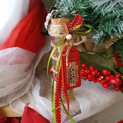 DIY χριστουγεννιάτικο στολίδι γυάλινος σωλήνας με κορδέλες