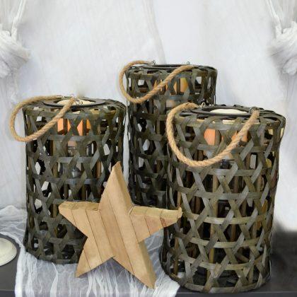 φανάρια ρουστίκ για χειμερινή διακόσμηση