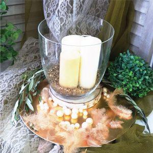 center piece για γαμο με θεμα την ελια με γυαλα κλαδια ελιας και κεριά