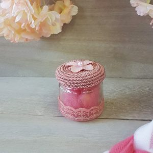 μπομπονιέρες κορίτσι vintage βαζάκι με ροζ κορδόνι και δαντέλα