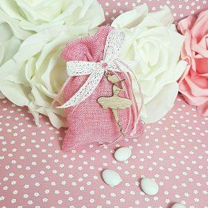 Μπομπονιέρα μπαλαρίνα με ροζ πουγκί και λευκή δαντέλα