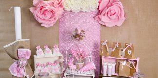 Τραπέζι ευχών για βάπτιση κοριτσιού με θέμα το ροζ