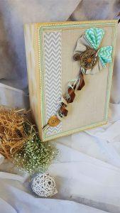 Βαπτιστικό κουτί διακοσμημένο με υφάσματα κορδέλες και ξύλινο ποδήλατο