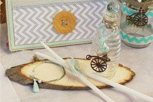 Λαδικά βάπτισης στολισμένα με βεραμάν και λευκή κορδέλα και διακοσμημένα με ξύλινο ποδήλατο