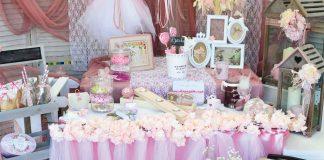 Τραπέζι ευχών & διακόσμηση βάπτιση vintage κοριτσιού