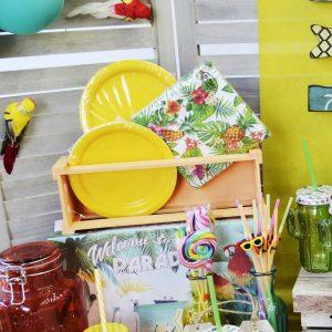 Διακόσμηση πάρτυ πολύχρωμες χαρτοπετσέτες και χρωματιστά πιάτα