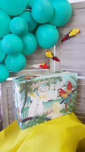 Διακόσμηση πάρτυ, μπαλόνια και κουτί με θέμα tropical