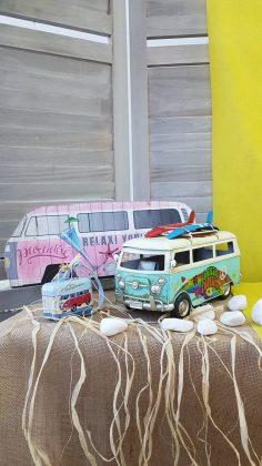 Διακόσμηση πάρτυ με ξύλινο βανάκι και vintage μεταλλικό βανάκι