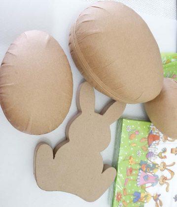 πασχαλινές κατασκευές ντεκουπάζ: λαγός και διακοσμητικά πασχαλινά αυγά