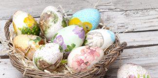 Πασχαλινές κατασκευές με ντεκουπάζ, αυγά ντεκουπάζ σε πασχαλινο καλάθι