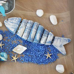 Γάμος με θαλασσινό θέμα, ξύλινο διακοσμητικό ψάρι ρετρό