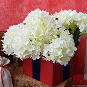 θέμα βάπτισης αγόρι ναυτικό κόκκινο κουτί με μπλε κορδέλα και λευκά λουλούδια
