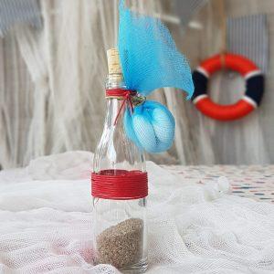 θέμα βάπτισης αγόρι ναυτικό: μπομπονιέρα μπουκάλι γεμισμένο με άμμο