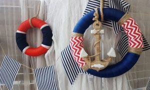 θέμα βάπτισης αγόρι ναυτικό σωσίβια σε μπλε και κόκκινο χρώμα