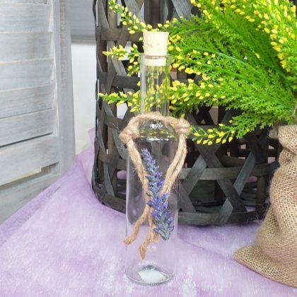 βάπτιση φλοραλ: μπουκάλι λαδιού διακοσμημένο με σχοινί και λεβάντα