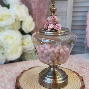 ρετρό φοντανιέρα-γυάλα για διακόσμηση γάμου