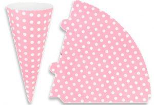 Ροζ πουά χάρτινος κώνος