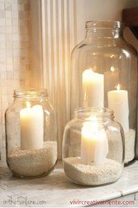 diy σσύνθεση με γυάλινα φανάρια και κεριά