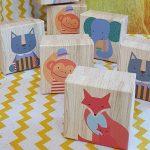 Ξύλινα κουτιά με ζωάκια για δωράκια baby shower