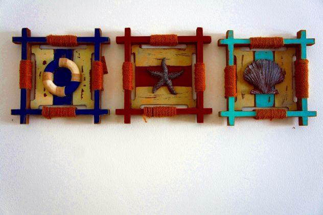 diy κατασκευές με κοχύλια, αστερία, ναυτικά διακοσμητικά και χρωματιστό σχοινί