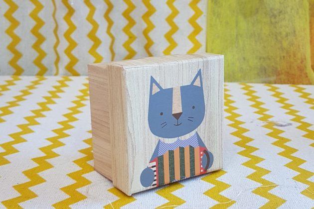 ξύλινο κουτάκι γατούλα για δωράκι