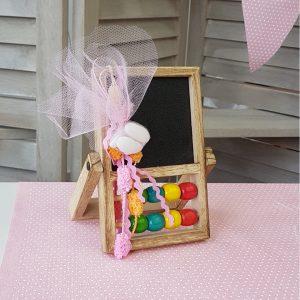 μπομπονιέρα μαυροπίνακας με ροζ τούλι