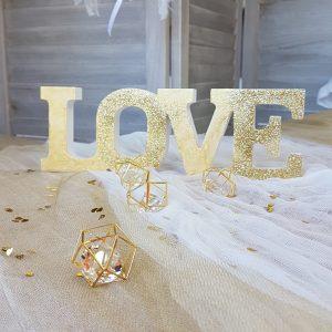 ξυλινο διακοσμητικό Love βαμμένο χρυσό