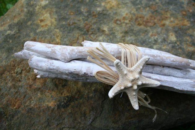 πρόταση διακοσμητικής σύνθεση εμε σπάγκο, αστερία και θαλασσόξυλα