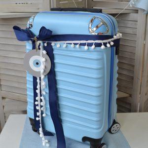 βαλίτσα για αποθήκευση βαπτιστικών, διακοσμημέν με κορδέλες, λευκή τρέσσα και ξύλινο γκρι μάτι
