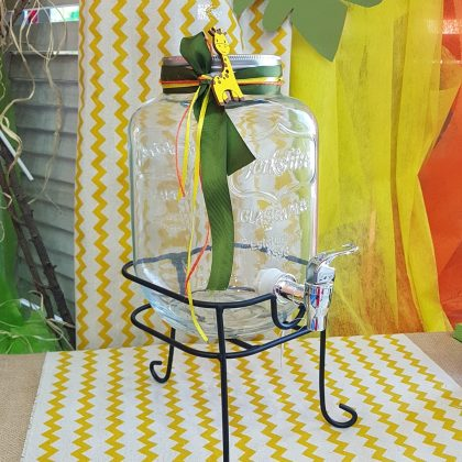 baby shower διακόσμηση για αγόρι, γυάλινη γυάλα με βρυσάκι