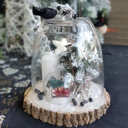χριστουγεννιάτικες διακοσμήσεις: σύνθεση με γυάλα