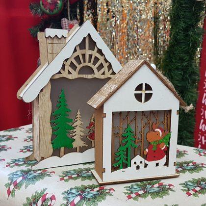 ξύλινα σπιτάκια χριστουγεννιάτικα