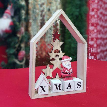 ξύλινο χριστουγεννιάτικο διακοσμητικό σπιτάκι