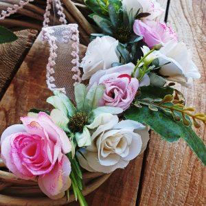 στεφάνια πρωτομαγιάς: υφασμάτινα λουλούδια για διακόσμηση