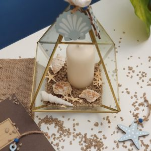 φανάρι terrarium με καλοκαιρινή διακόσμηση
