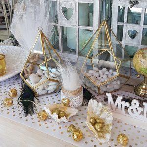 διακόσμηση γάμου σε λευκό και χρυσό