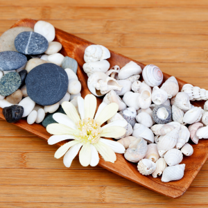 διακόσμηση τραπεζαρίας με δίσκο: φυσική διάθεση με θαλασσινές πέτρες