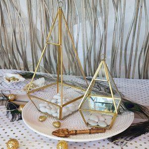 γεωμτερικά φανάρια terrarium για center pieces γάμου