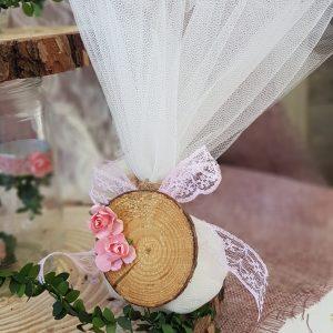 μπομπονιέρες γάμου vintage πρόταση μπομπονιέρας με τούλι δαντέλα και ροζ λουλουδάκια