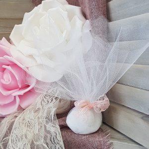 μπομπονιέρες γάμου vintage πρόταση για απλή τούλινη μπομπονιέρα