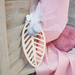 μπομπονιέρα φυλλαράκι για βάπτιση κοριτσιού