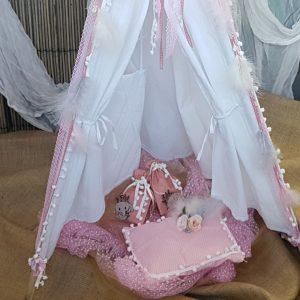 βαπτιση κοριτσιού ροζ διακοσμητική σκηνή