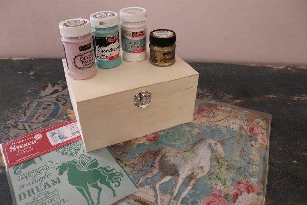 χριστουγεννιάτικες κατασκευές: υλικά για vintage κουτί decoupage