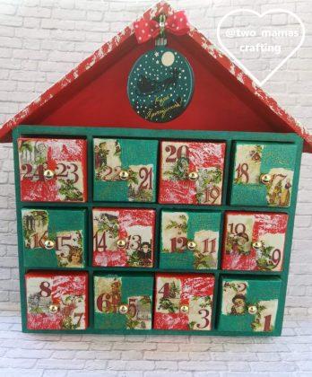 ημερολόγιο αντίστροφης μέτρησης χριστουγέννων, ξύλινο σπιτάκι ντεκουπάζ