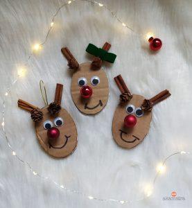 χριστουγεννιάτικες κατασκευές για παιδιά: diy στολίδια ρούντολφ