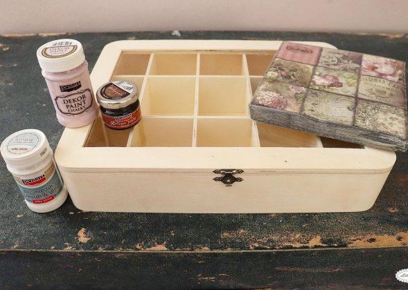 υλικά για κουτί τσαγιού ντεκουπάζ