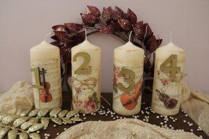 χριστουγεννιάτικες κατασκευές: κεριά ντεκουπάζ
